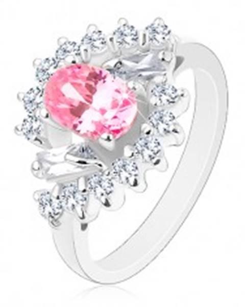 Prsteň v striebornom odtieni, brúsený ovál ružovej farby, číre zirkónové oblúky - Veľkosť: 51 mm
