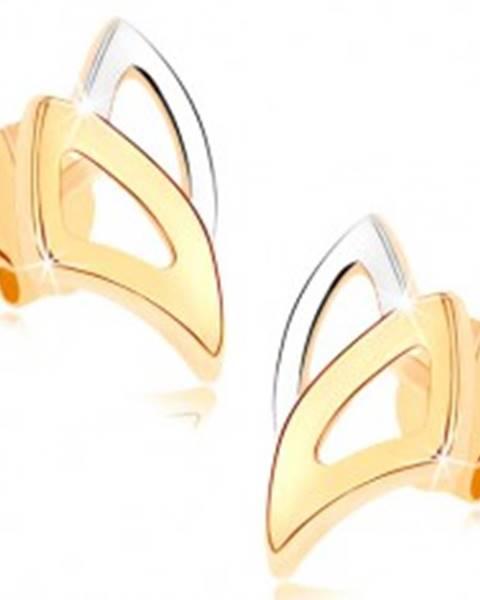 Puzetové náušnice v žltom 9K zlate - dvojfarebné obrysy trojuholníkov