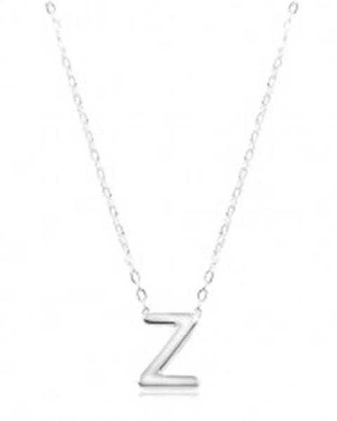 Strieborný náhrdelník 925, lesklá retiazka, veľké tlačené písmeno Z