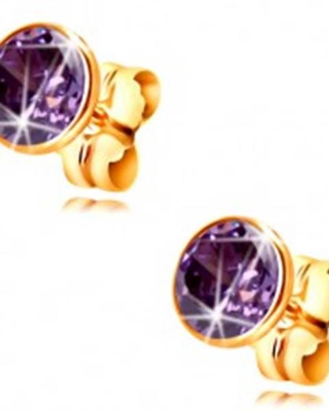 Zlaté 14K náušnice - okrúhly zirkón tmavofialovej farby objímke, 5 mm