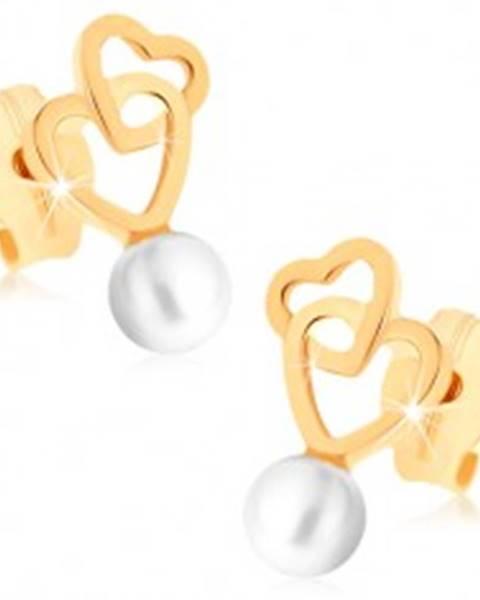 Zlaté náušnice 375 - dva prepojené obrysy sŕdc, guľatá biela perlička