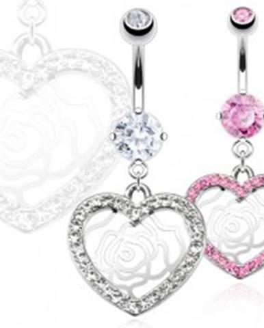Piercing do pupka z ocele - zirkónové srdce, ruža Y12.14 - Farba: Číra