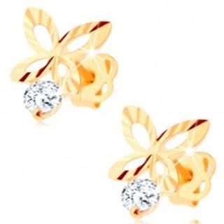Briliantové zlaté náušnice 585 - ligotavý obrys motýľa, číry diamant BT503.54