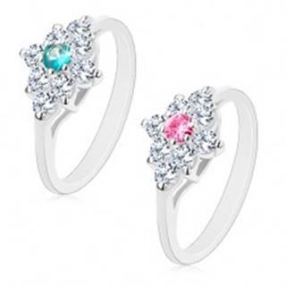 Ligotavý prsteň, lesklé zúžené ramená, číry kosoštvorec s farebným stredom - Veľkosť: 58 mm, Farba: Ružová