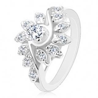 Ligotavý prsteň so zatočenými ramenami, brúsené okrúhle zirkóny v čírej farbe - Veľkosť: 49 mm