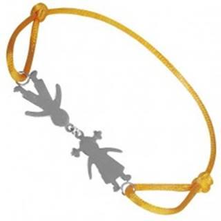 Náramok zo striebra 925 - chlapec a dievča na žltej šnúrke, spojení pri hlave T20.13