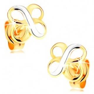 Náušnice v kombinovanom 14K zlate - dva lesklé symboly INFINITY