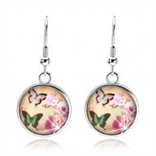 Okrúhle náušnice v štýle cabochon, dva pestrofarebné motýle, ružové kvety
