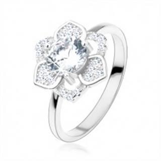 Prsteň, striebro 925, ligotavý kvet, brúsený číry zirkón, hladké ramená - Veľkosť: 48 mm