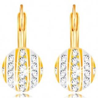 Zlaté 14K náušnice - polgulička s pásmi bieleho a žltého zlata, číre zirkóny GG210.39