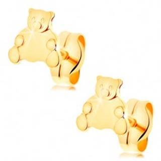 Zlaté náušnice 585 - roztomilý sediaci medvedík, puzetové zapínanie