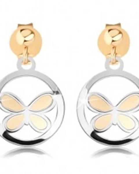 Dvojfarebné náušnice v 9K zlate - matný motýľ v lesklej kontúre kruhu
