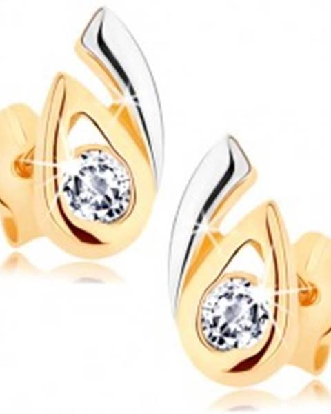 Náušnice z 9K zlata - rozdvojená dvojfarebná kvapka, číry zirkón