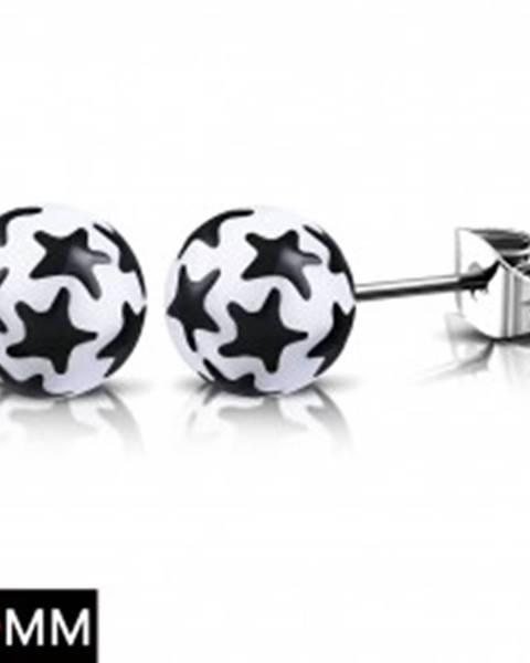 Oceľové náušnice, biele guličky s čiernymi hviezdami, puzetky