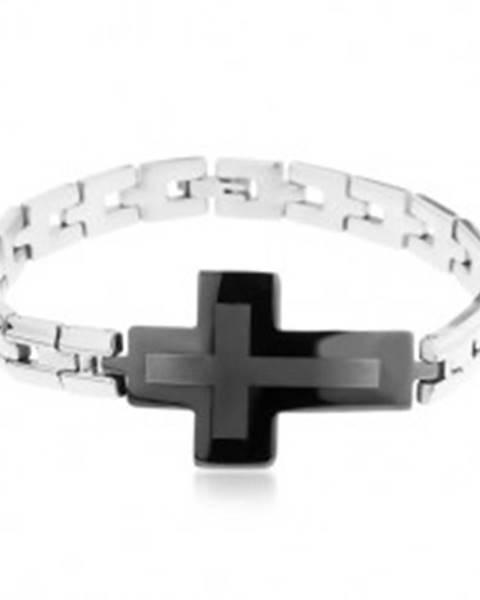 Oceľový náramok striebornej farby, lesklé články a veľký sivo-čierny kríž Y24.08