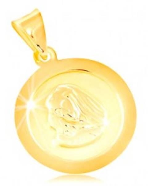 Prívesok v žltom 14K zlate, okrúhla známka s Pannou Máriou