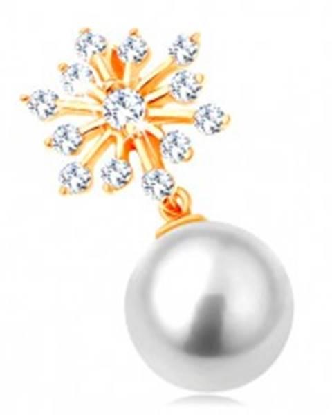 Prívesok v žltom 14K zlate - trblietavá snehová vločka, guľatá biela perla
