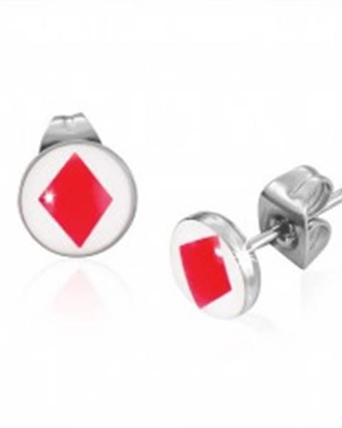 Puzetové oceľové náušnice s kartovým symbolom