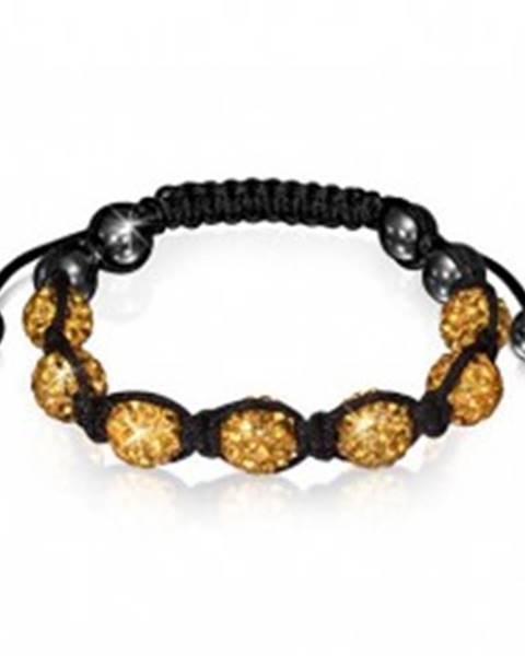 Shamballa vibračný náramok - zirkónové korálky zlatej farby a hematitové guličky