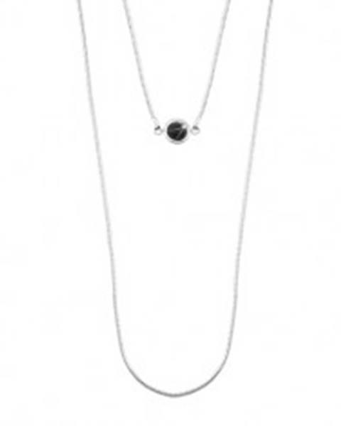 Strieborný 925 náhrdelník, dvojitá retiazka s hadím vzorom, čierna polgulička SP23.04