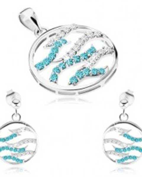 31d657556 Strieborný set 925, náušnice a prívesok, kruh, číre a modré zirkónové vlnky  SP69