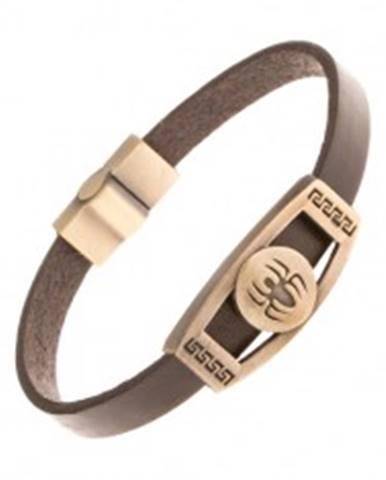 Hnedý kožený náramok, známka mosadznej farby - pavúk v kruhu, grécky kľúč Y30.09