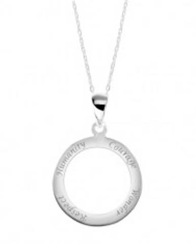 1823c0bdb Strieborný 925 náhrdelník, retiazka a prívesok - obruč s vyrytými nápismi  SP24.19