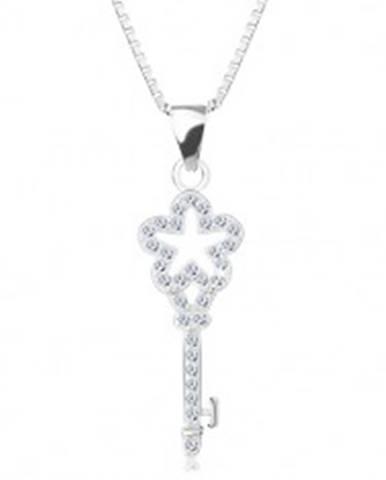 f0bb4a917 Strieborný 925 náhrdelník, retiazka s príveskom, zirkónový kľúčik s  kvietkom AC09.20