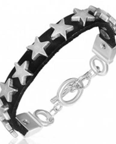 Úzky náramok z kože s kovovými hviezdičkami AA34.16
