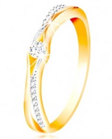Zlatý 14K prsteň, rozdelené...