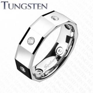 Hranatý volfrámový prsteň so štvorcami a zirkónmi - Veľkosť: 49 mm