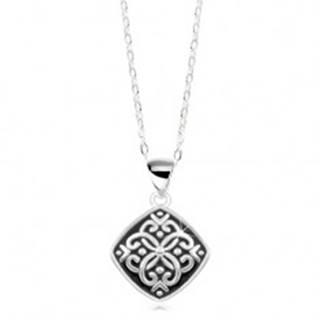 ac06fb020 ... Nastaviteľný náhrdelník, striebro 925, prívesok s čiernou glazúrou a  ornamentmi SP13.22