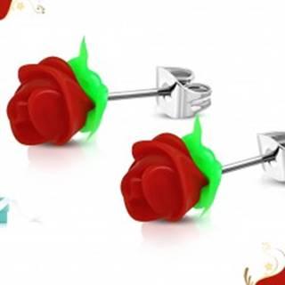 Náušnice z chirurgickej ocele, červená silikónová ružička, zelené lístky