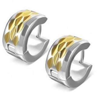Náušnice z ocele - kosoštvorcový výbrus na páse zlatej farby R21.6