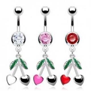 Oceľový piercing do pupka - farebný zirkón, srdiečkové čerešne C28.11 - Farba zirkónu: Červená - R