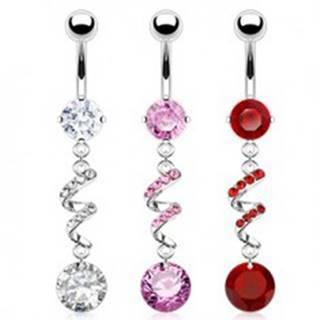 Piercing do brucha - špirála, zirkóny, strieborná farba C29.11 - Farba zirkónu: Červená - R