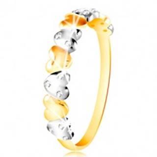 Prsteň v kombinovanom zlate 585 - dvojfarebné srdiečka, číre zirkóny - Veľkosť: 49 mm