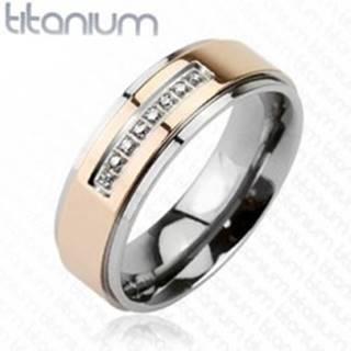 Prsteň z titánu ružovozlatej farby a radom zirkónov - Veľkosť: 49 mm