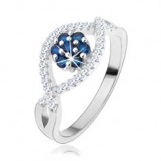 Prsteň zo striebra 925, zvlnené zirkónové línie, ligotavý kvet z modrých zirkónov - Veľkosť: 49 mm