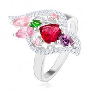 Strieborný 925 prsteň, trblietavé zirkóny rôznych farieb, číry lem - Veľkosť: 50 mm