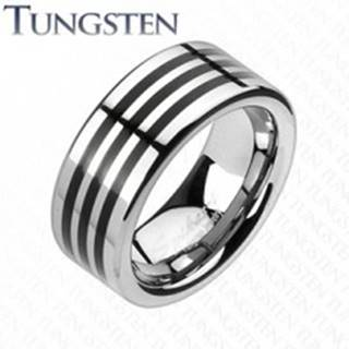 Tungstenový prsteň s troma čiernymi pásikmi po obvode - Veľkosť: 49 mm