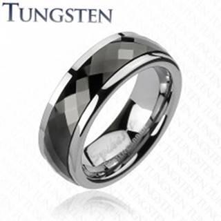 Wolfrámový prsteň s otáčavým stredom - čierne kosoštvorce - Veľkosť: 49 mm