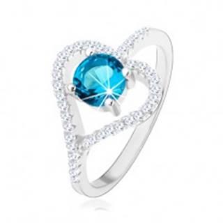 Zásnubný prsteň zo striebra 925, zirkónový obrys srdca, modrý zirkón - Veľkosť: 50 mm