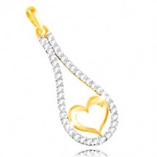 Zlatý 14K prívesok - obrys srdca v zirkónovej kontúre kvapky