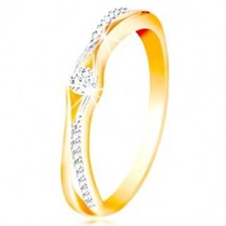 Zlatý 14K prsteň, rozdelené ramená zo žltého a bieleho zlata, číre zirkóny - Veľkosť: 49 mm