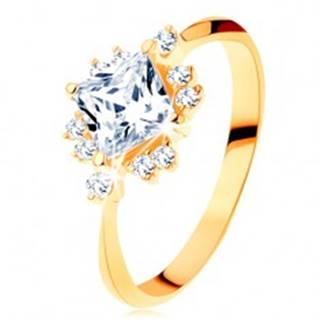 Zlatý prsteň 585 - ligotavý brúsený štvorec, drobné zirkóniky čírej farby - Veľkosť: 49 mm