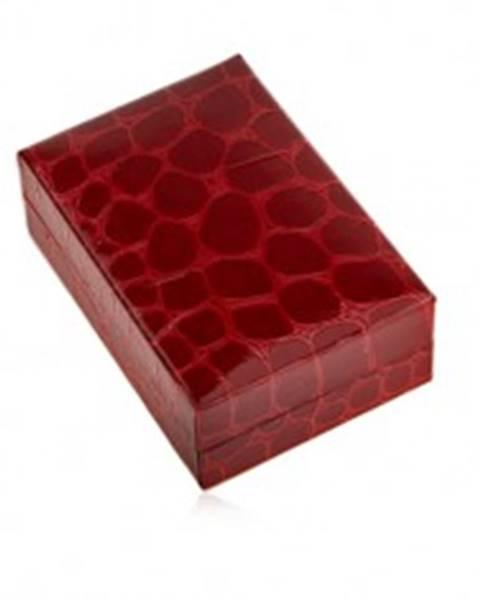 Darčeková krabička na náušnice, krokodílí vzor, tmavočervený odtieň