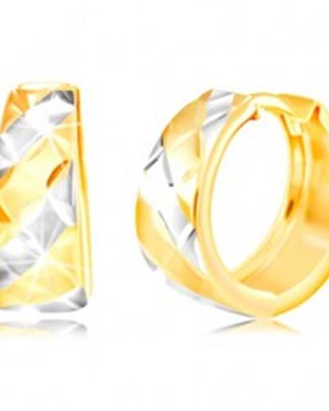 Kĺbové zlaté náušnice 585 - pásy v žltom a bielom zlate, ligotavé zárezy