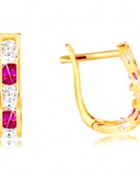 8c5554e6f Náušnice v žltom 14K zlate - oblúčik zo zirkónov čírej a ružovej farby  GG210.49