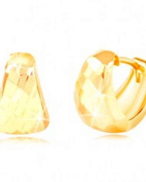 Náušnice v žltom 14K zlate - zaoblený trojuholník s brúseným povrchom